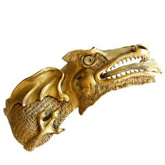 Christopher Ross Fierce Dragon Belt Buckle 24k Gold Statement Piece 1980s
