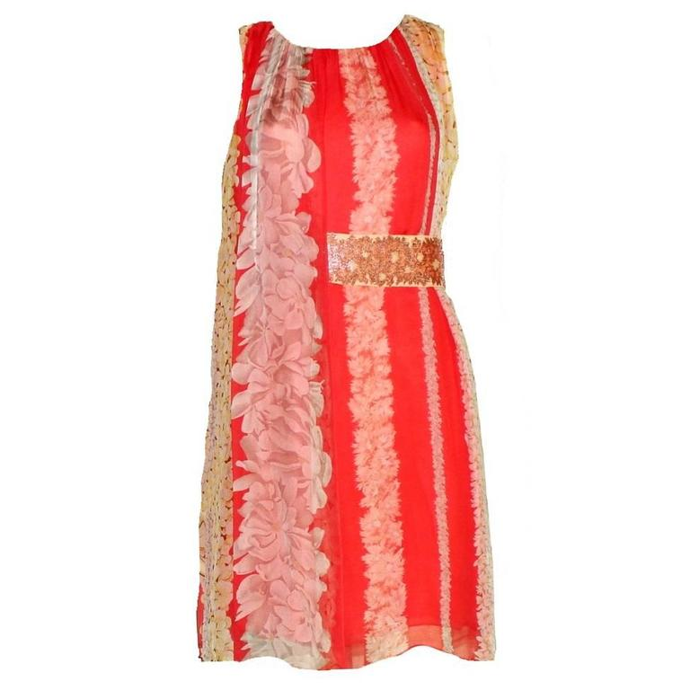 Missoni Floral Silk Dress with Embroidered Belt 1