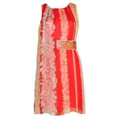 Missoni Floral Silk Dress with Embroidered Belt