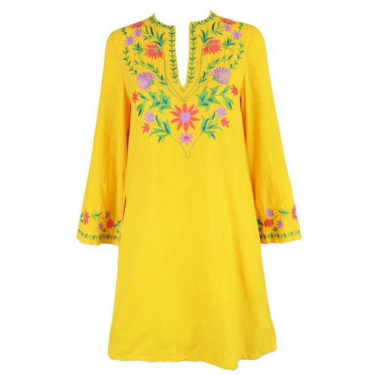 Treacy Lowe Mustard Yellow Hand Embroidered Indian Cotton Mini Dress, 1970s 1