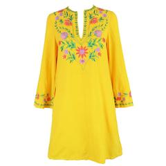 Treacy Lowe Mustard Yellow Hand Embroidered Indian Cotton Mini Dress, 1970s
