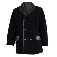 Men's Vintage Black Shearling & Leather Coat, 1960s