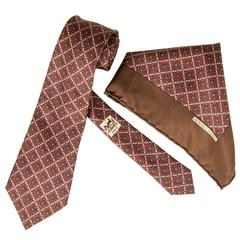 "Hermes Vintage Silk Necktie and Pocket Square ""Stirrups"""