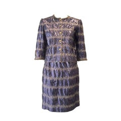 Vintage 1970s CHANEL Blue and Gold Silk Jacket and Skirt Ensemble