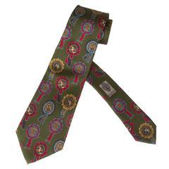 "Vintage Gucci Silk Necktie ""Horse Award Ribbons"""