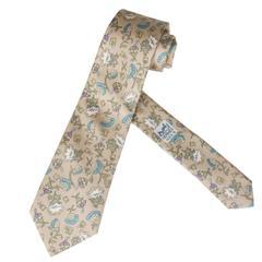 """Vintage Hermes Silk Necktie """"Wildflowers"""""""