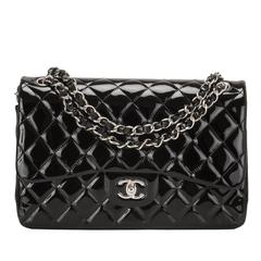 Chanel Black Quilted Patent Jumbo Classic Double Flap Bag