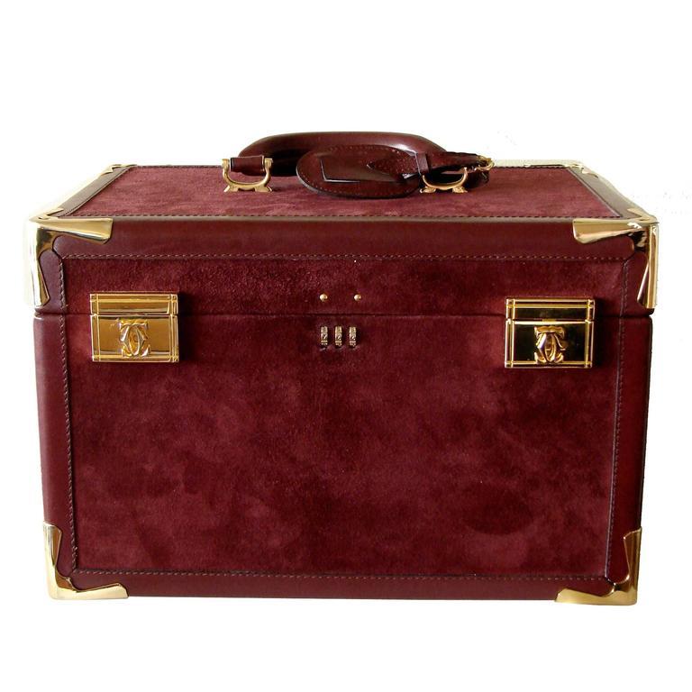 Cartier Bordeaux Suede Leather Train Case Travel Bag With