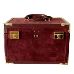 Cartier Bordeaux Suede Leather Train Case Travel Bag with Dust Bag + Box 1975