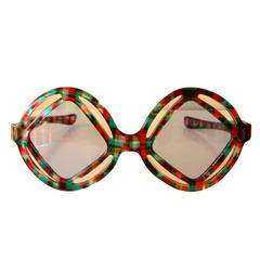 Unique Paulette Guinet Sunglasses Op Art Modernist Frame 1970s