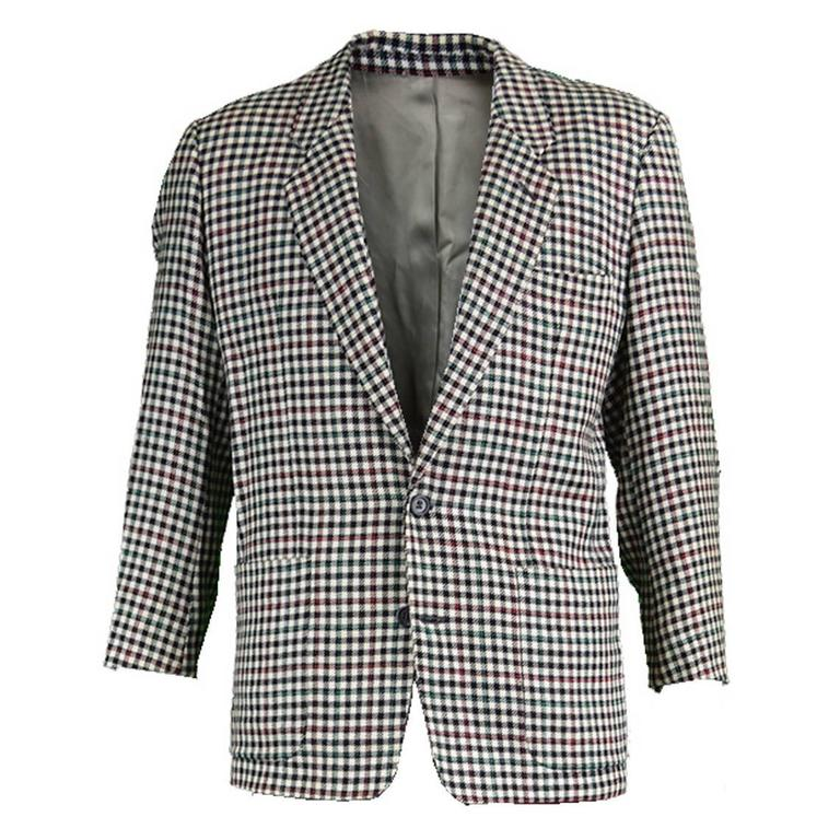Kenzo Paris Men's Vintage Wool Checked Blazer, 1990s