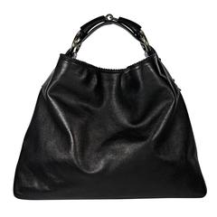 Black Gucci Leather Large Hobo Bag