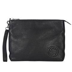 Black Gucci Pebbled Leather Clutch