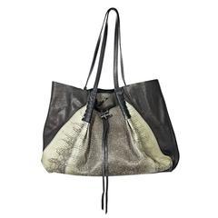 Black Nina Ricci Leather & Lizard Tote Bag