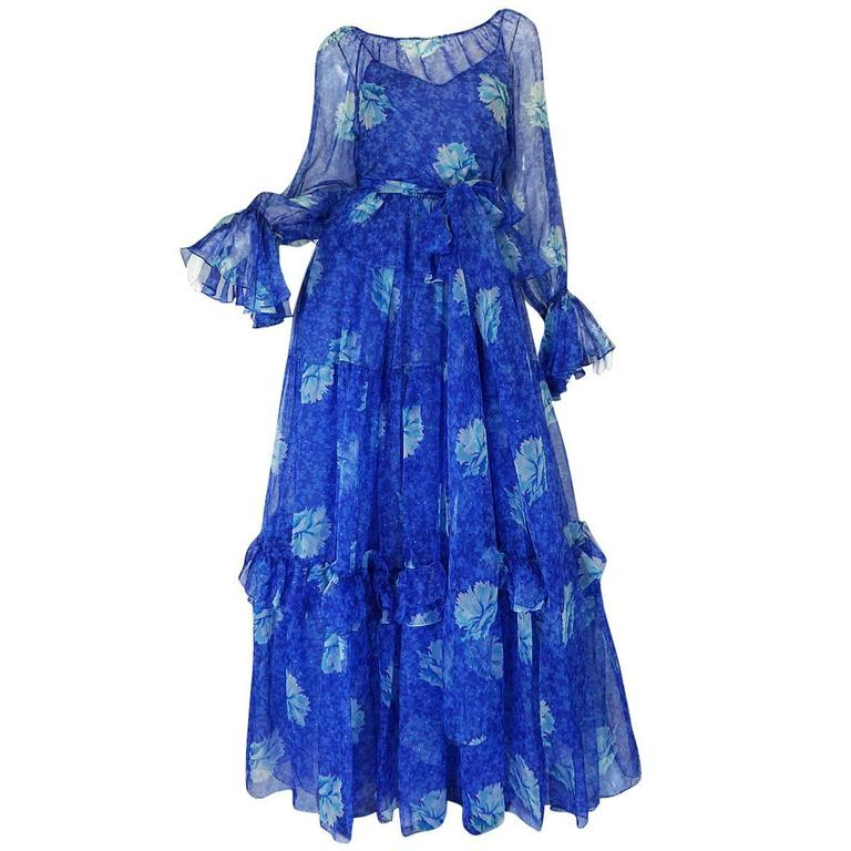 1970s Blue Tiered Floral Silk Chiffon Oscar de la Renta Dress 1