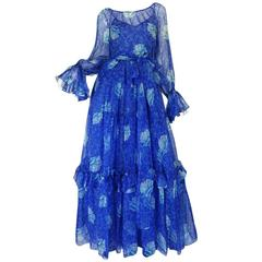 1970s Blue Tiered Floral Silk Chiffon Oscar de la Renta Dress