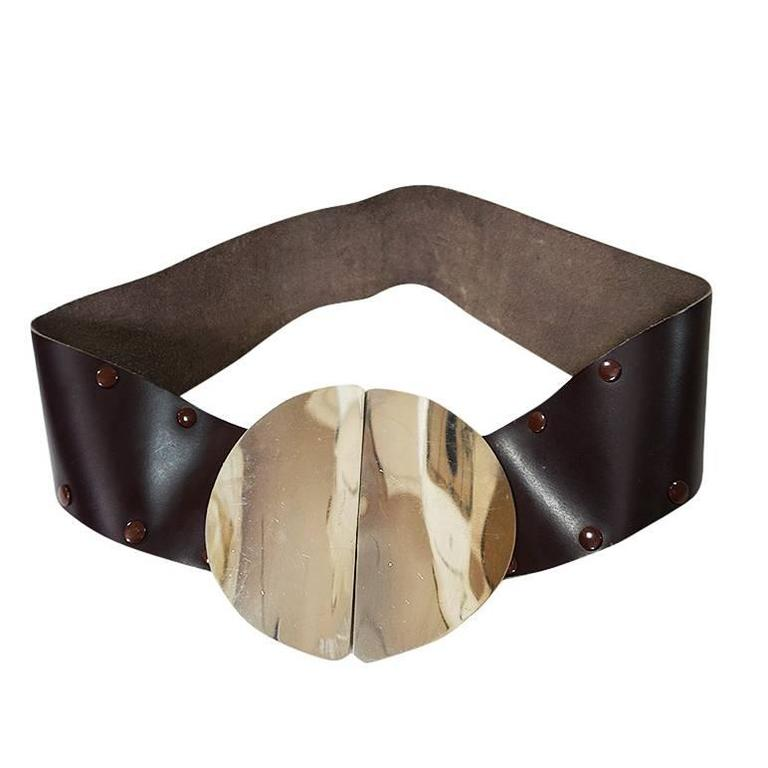 1960s Paco Rabanne Sculptural Silver Metal Circle Belt For Sale