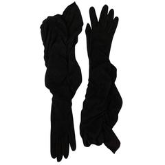 Vintage Hermes Black Suede Opera Gloves with Ruffle