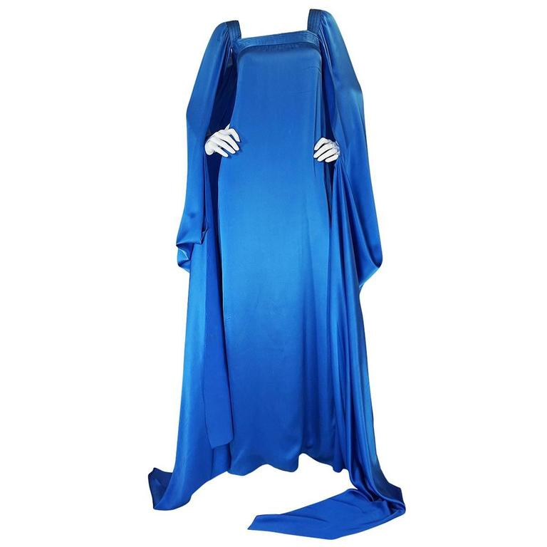 A/W 1978 Christian Dior Numbered Haute Couture Blue Silk Dress 1