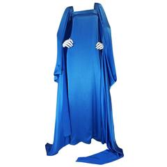 A/W 1978 Christian Dior Numbered Haute Couture Blue Silk Dress