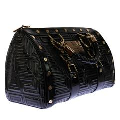 """New GIANNI VERSACE COUTURE Black Patent Leather """"Snap Out Of It"""" Bag"""