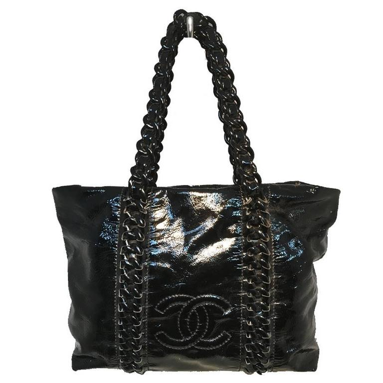 Chanel Black Distressed Patent Leather Shoulder Tote Bag