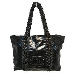 Chanel Black Distressed Patent Leather Shoulder Tote Bag