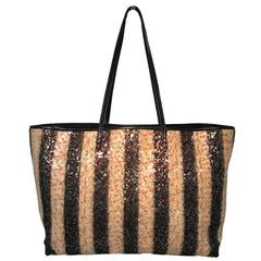 Fendi Striped Wool Sequin Limited Edition Shopper Tote