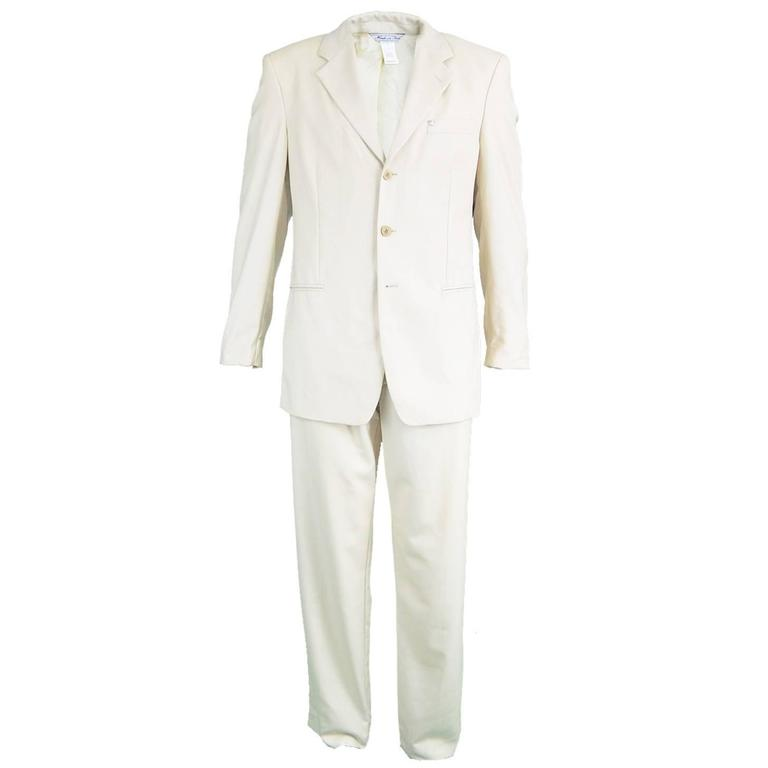 Gianni Versace Men's Cream Medusa Head Wool Jacquard Trouser Suit, 1990s