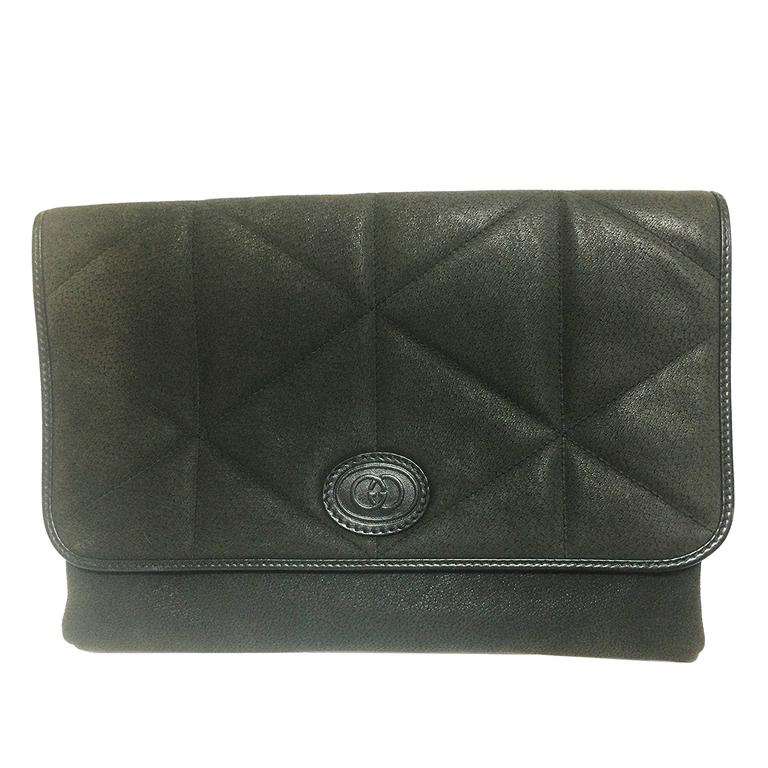 Vintage Gucci gray suede leather document clutch purse in geometric stitch.
