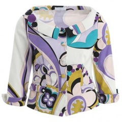 Emilio Pucci Purple, Pink and Green Print Jacket Sz 10