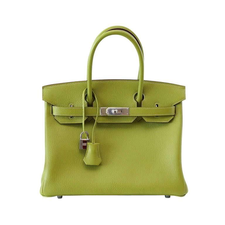 Hermes Birkin 30 Bag Green Vert Anis Chevre Palladium Hardware
