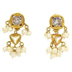 Chanel Crystal and Cluster Pearl Earrings