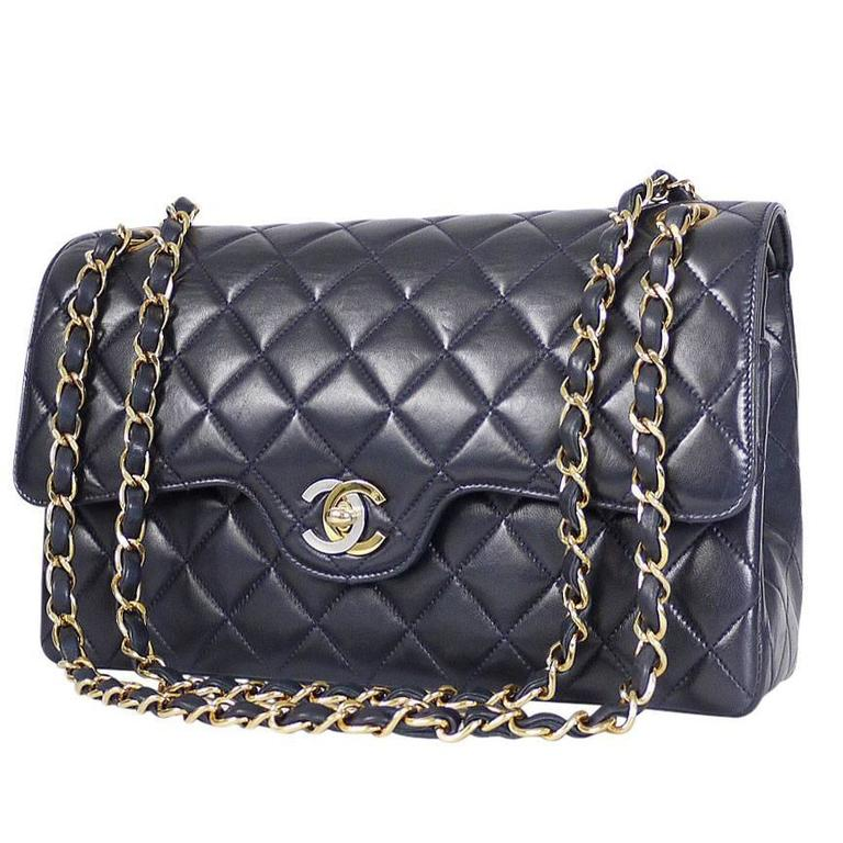 b4bf5fe0c388 Vintage Chanel 2.55 Double Flap Classic Limited Edition Rare Navy For Sale