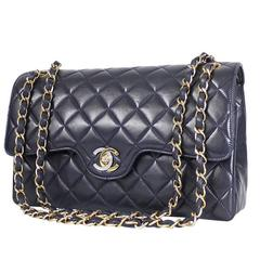 Vintage Chanel 2.55 Double Flap Classic Limited Edition Rare Navy