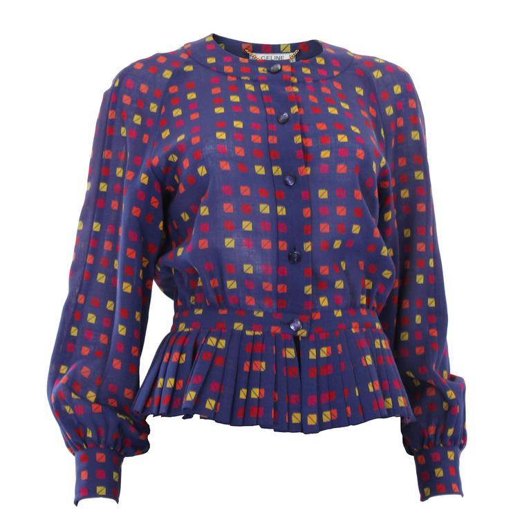 1980s Celine Paris Wool Jacket/Blouse with Peplum