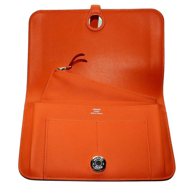 Brandnew Hermes Poppy Orange Dogon Duo Wallet And Change Purse 1