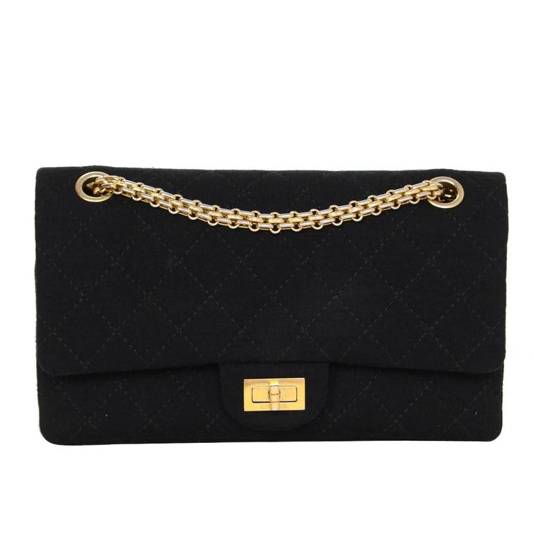 5bddb576f314 Chanel Black Jersey Reissue 2.55 225 Medium Double Flap Classic Bag For Sale