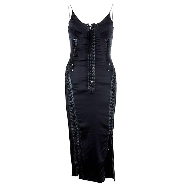 Dolce & Gabbana Silk & Lace Up Leather Corset Dress For Sale