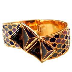 Vintage Kara Ross Modernist Ornate Enamel Clamper Bracelet