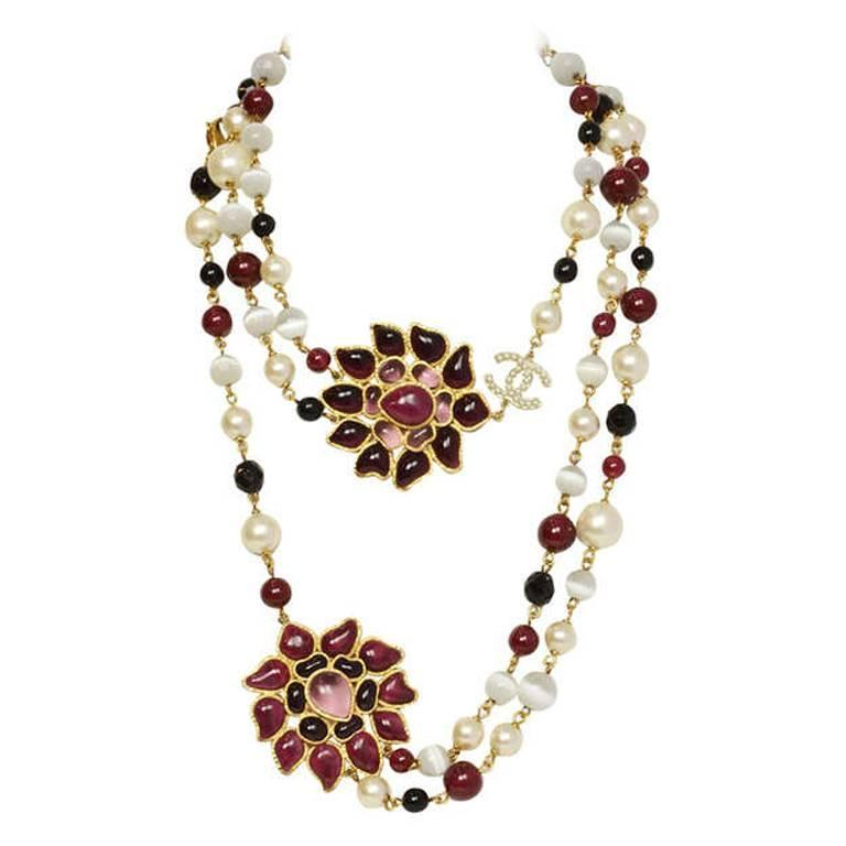 Chanel Burgundy/Black/White Long Beaded Necklace W/ Gripoix Pendants 1