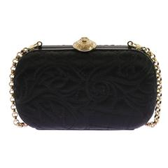 VERSACE Black Baroque Embroidered Bag Clutch