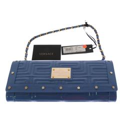 Gianni Versace Couture blue patent leather bag clutch with chain