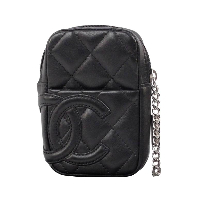 chanel zip coin purse. chanel cambon black quilted leather cigarette case holder zip pouch 1 chanel coin purse