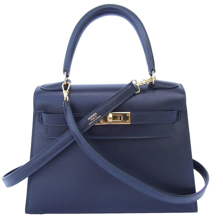 ba9dc406eaaf Hermes Mini Kelly 20 cm Sellier Bag Navy Blue Box Golden Hardware RARE at  1stdibs