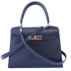 Hermes Mini Kelly 20 cm Sellier Bag Navy Blue Box Golden Hardware RARE