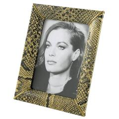 French Vanity Picture Photo Frame Faux Snake Skin Pattern circa 1960s