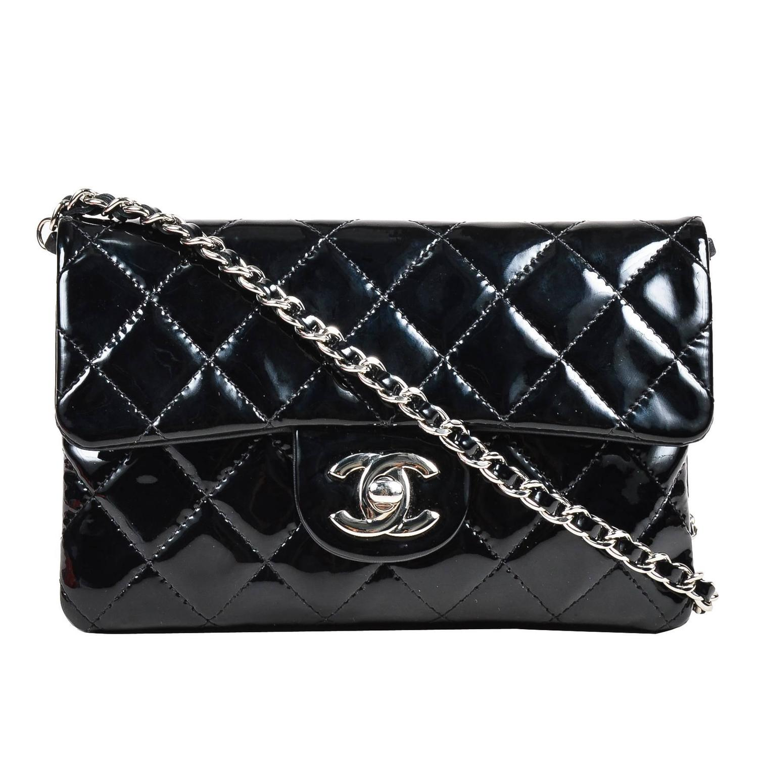 Leather quilted handbags and purses - Chanel Black Patent Leather Quilted Dual Pocket Crossbody Chain Strap Bag At 1stdibs