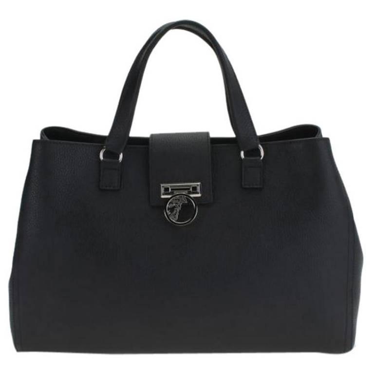 Versace Collection Pebbled Leather Handbag Black Satchel 1
