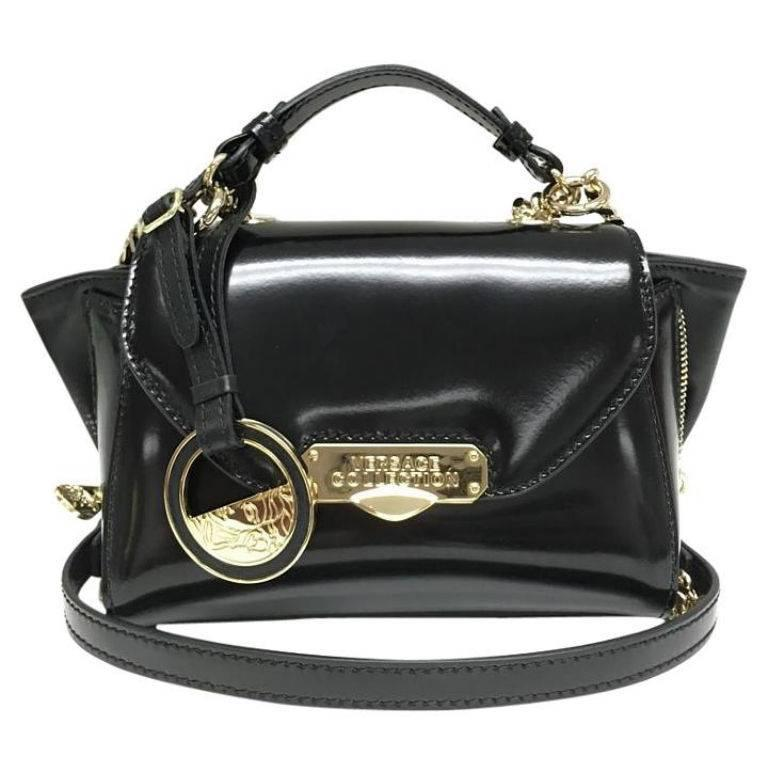Versace Collection Patent Leather Mini Black Satchel 1
